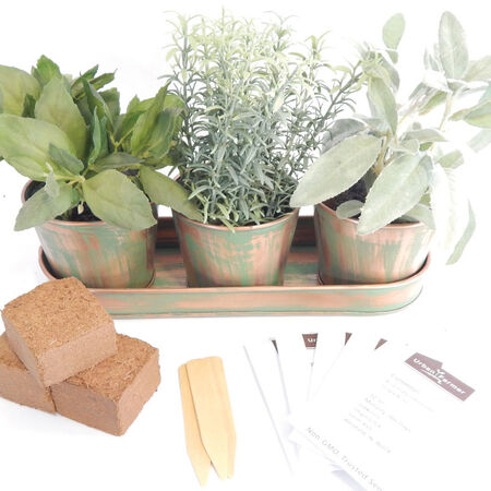 Metal Herb Garden Kit (Round), Garden Gifts - Verdigris Copper image number null