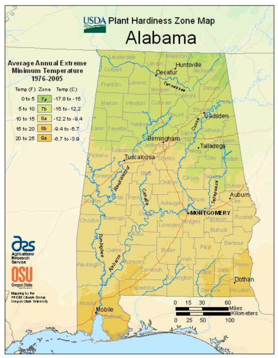 Alabama Zone Hardiness Map
