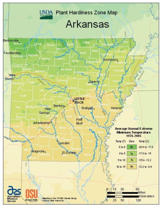 Arkansas Zone Hardiness Map