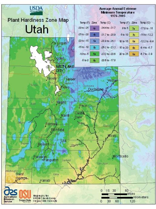 Utah Zone Hardiness Map