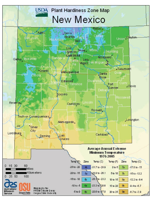 New Mexico Zone Hardiness Map