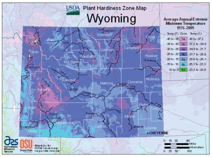 Wyoming Zone Hardiness Map