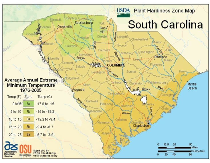 South Carolina Zone Hardiness Map