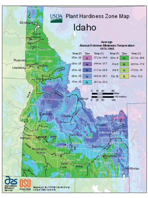 Idaho Zone Hardiness Map