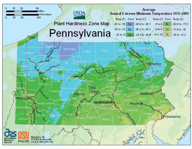 Pennsylvania Zone Hardiness Map