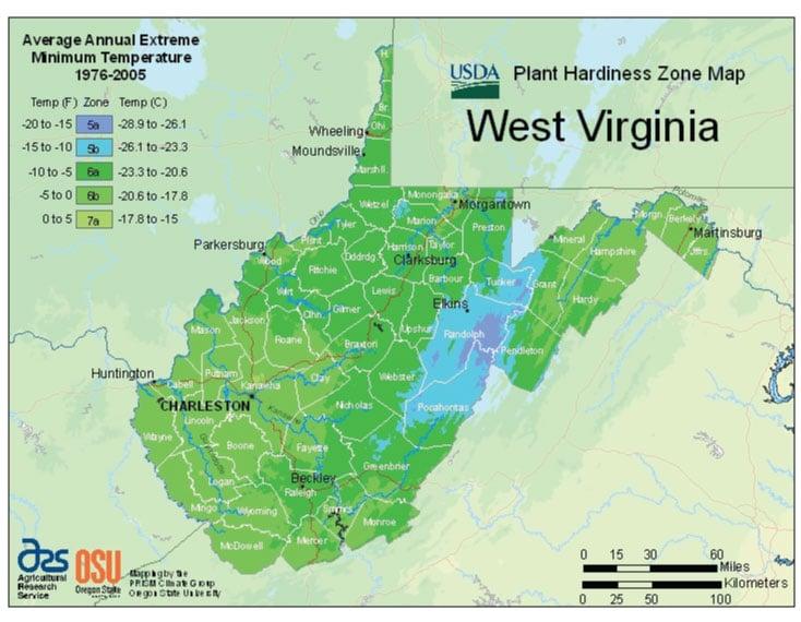 West Virginia Zone Hardiness Map