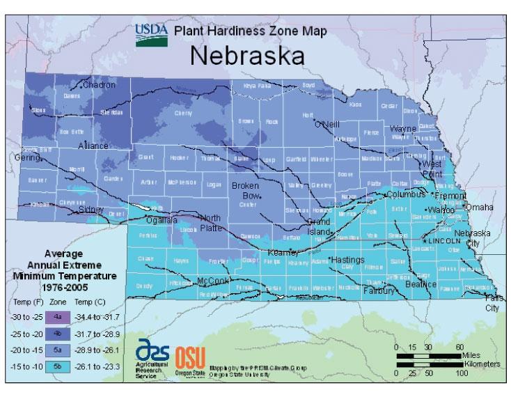 Nebraska Zone Hardiness Map