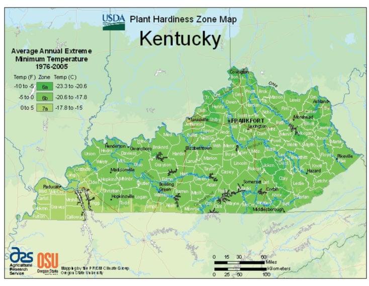 Kentucky Zone Hardiness Map