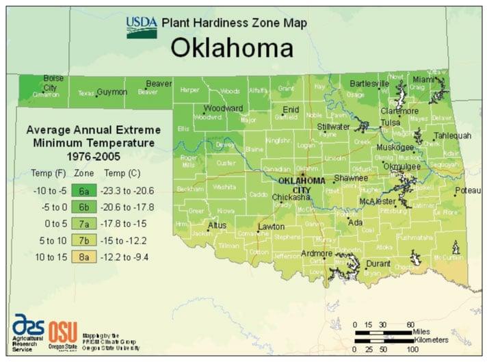 Oklahoma Zone Hardiness Map