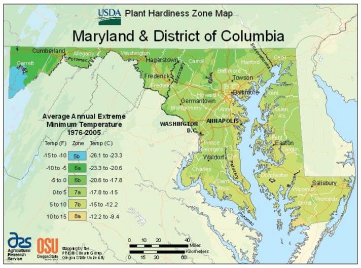 Maryland Zone Hardiness Map