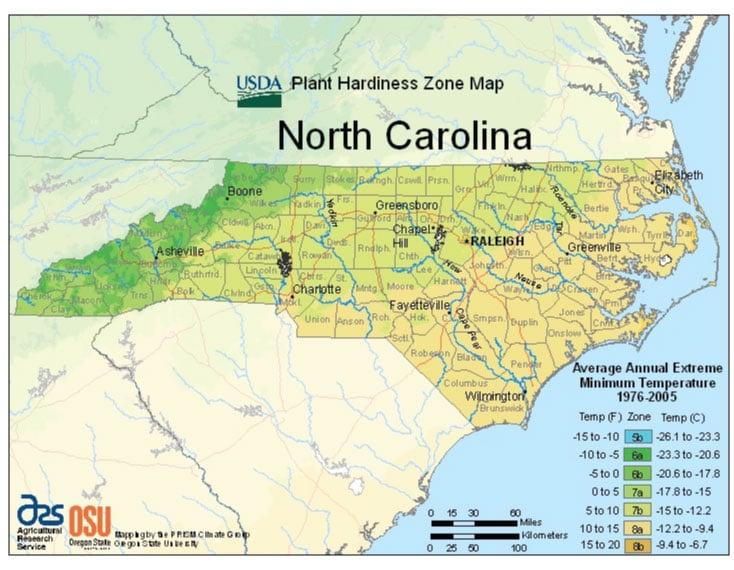 North Carolina Zone Hardiness Map