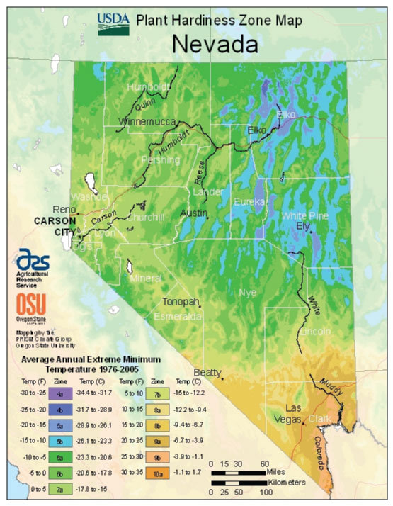 Nevada Zone Hardiness Map