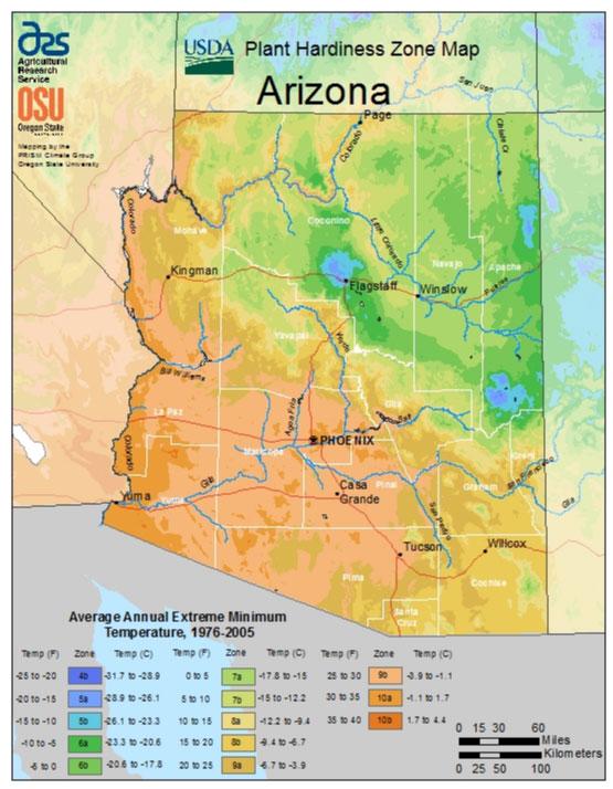 Arizona Zone Hardiness Map