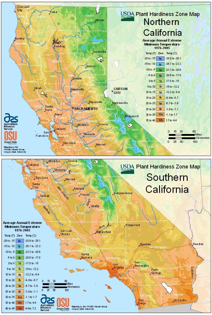 California Zone Hardiness Map