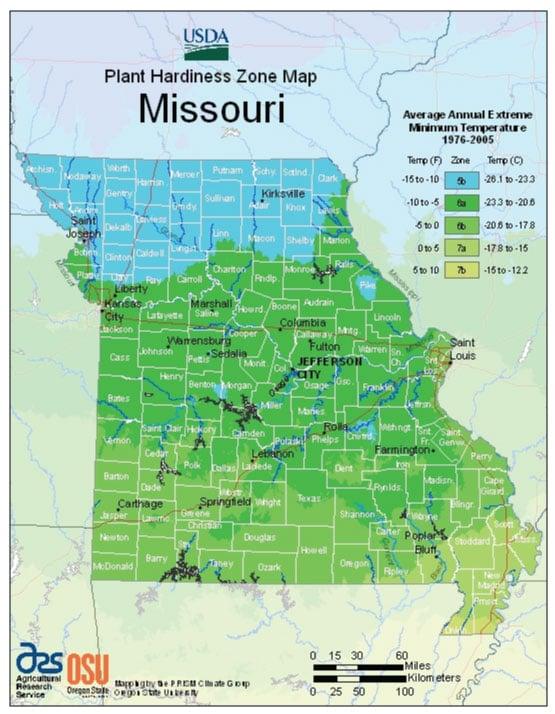 Missouri Zone Hardiness Map