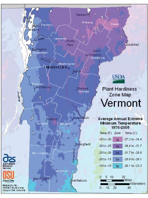Vermont Zone Hardiness Map